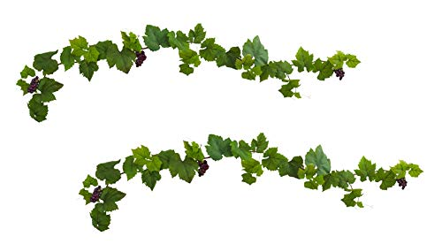 Artificial Garland -6 Foot Grapevine Leaf Deluxe Garland with Grapes -Set of 2 ()
