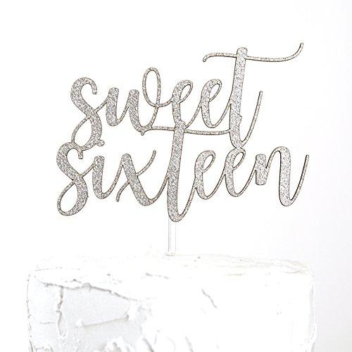 NANASUKO 16th Birthday Cake Topper - sweet sixteen - silver glitter - Premium quality Made in USA