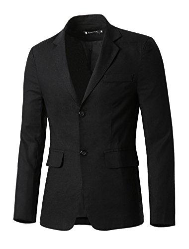 Button Two Blazer (Allegra K Men Notched Lapel Padded Shoulders Button Placket Leisure Blazer L Black)
