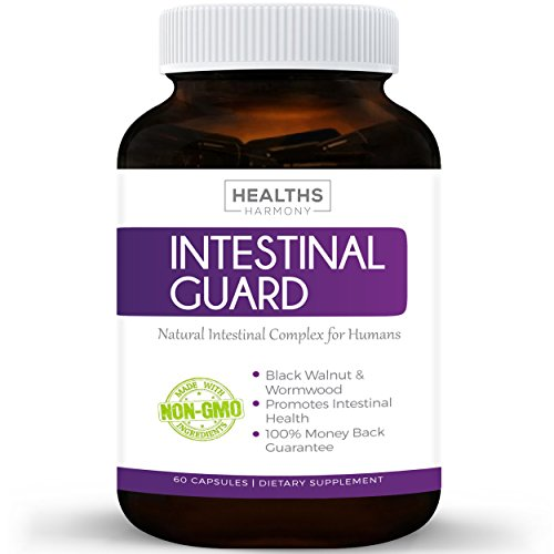 Intestinal Guard (NON-GMO) Intestinal Support for Humans - Wormwood & Black Walnut - 100% Money Back Guarantee - 60 (Guard 60 Capsules)