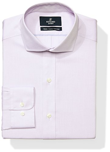 Buttoned Down Men's Classic Fit Cutaway-Collar Solid Non-Iron Dress Shirt (No Pocket), Purple, 19.5