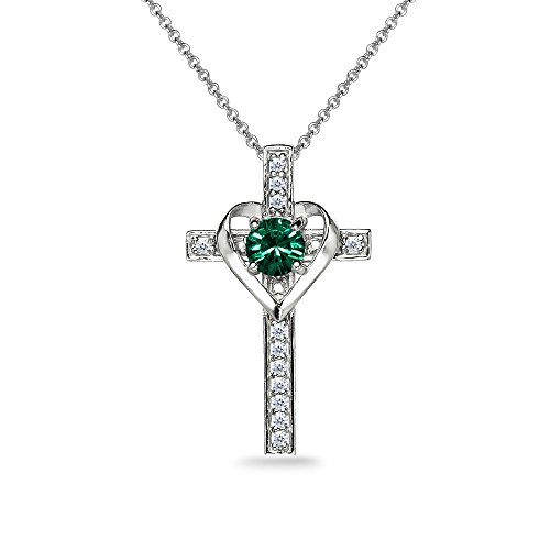 (Sterling Silver Green Heart in Cross Pendant Necklace Made with Swarovski Crystals)