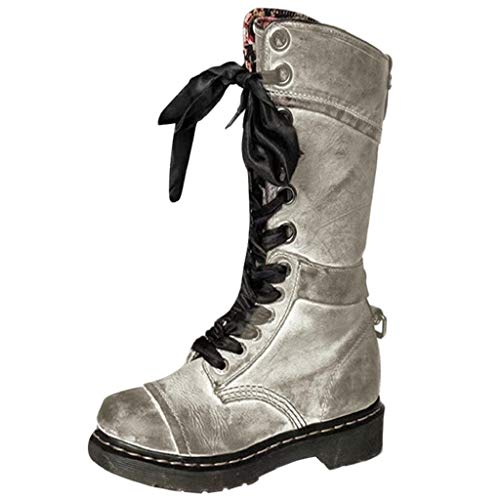 REYO Women Casual Boots Retro Leather Non-Slip, Round Toe, Lace-Up Winter Waterproof Walking Martin Middle Boots Shoes