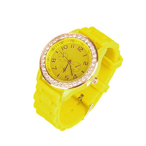 OFTEN Ladies Women Girl Silicone Quartz Crystal Stone Jelly Wrist Watch -