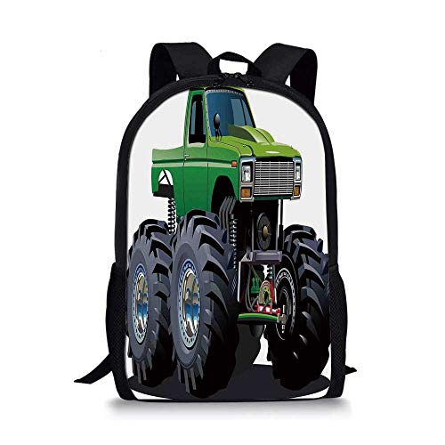 Cars Stylish School Bag,Giant Monster Pickup Truck with Large Tires and Suspension Extreme Biggest Wheel Print for Boys,11''L x 5''W x 17''H (Gray Wheel 17')