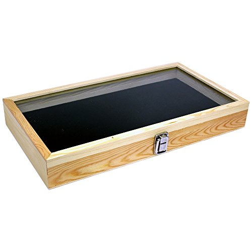 (Wood Jewelry/Bead Storage Box in Tempered Glass Top Lid with Velvet Black Pad Display Box Case Medals Awards Jewelry Knife)