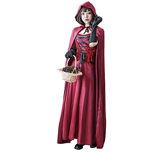 TOMORI Vampiress Cosplay Costumes for Women Halloween Magician Cape Cloak Vintage Gothic Dress (L) ()
