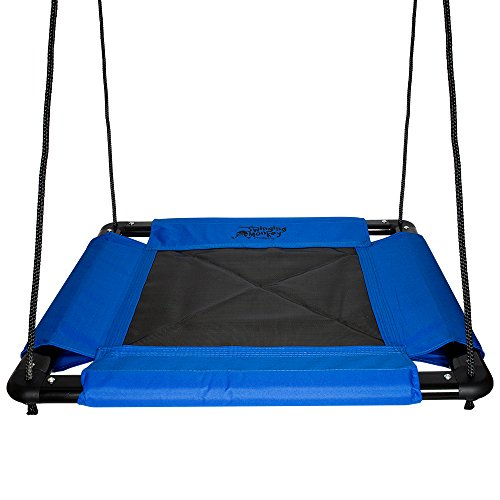 Square Platform Swing, Blue - 32in L x 32in W, Tree Swing, Heavy Duty Materials, Room for Multiple Children