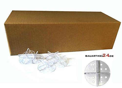 Fugenkreuz mit Teller 100 Stk. 3mm Fuge zur Plattenverlegung im Splittbett transparent