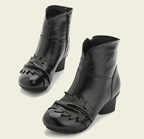 Testa Autunno Da Black Centrali Scarpe Inverno A In Donna E Tonda Basse Stivali Vecchi Cotone rqA7wr