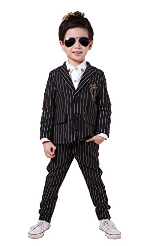 YUFAN Boys Pinstripe Suits Separated Blazer & Pants 2 Pieces Black & White 2 Colors (5, Black) -