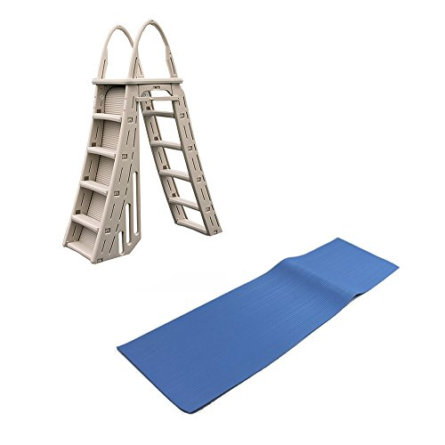 Confer Heavy-Duty A-Frame Above-Ground Pool Ladder + Hydro Tools Protective Mat