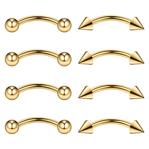 Ruifan 4PRS Eyebrow Piercing Jewelry Curved Barbell with Ball/Spike Kit Eyebrow Tragus Lip Ring 16g 16 gauge 8mm (Gold)