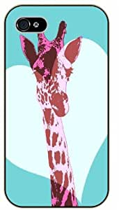 Pink giraffe, heart - iPhone 5C black plastic case / Animals and Nature, hipster