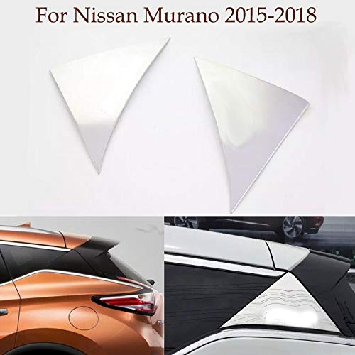 Yingchi-Car/2pcs ABS Chrome Rear Tail Frame Cover Window Triangle Decal Rear Door Side Window Trim Strip for Nissan Murano 2015-2018 2019