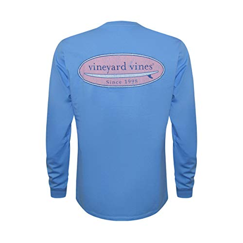 Vineyard Vines Men's Long-Sleeve Graphic Pocket T-Shirt (Surfboard Bayside Blue, S) ()