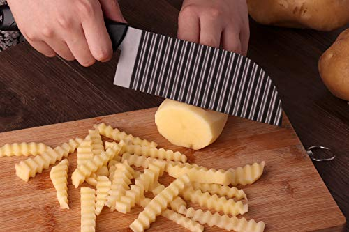 ife French Fry Cutter Crinkle Potato Slicer Stainless Steel Crinkle Cut Knife Potato Dough Waves Crinkle Cutter Slicer, Home Kitchen Chip Blade Cooking Tools (Original size) ()