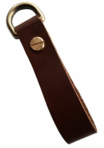 MEEBOY Classic Men's Buckle Keychain Vintage Metal Dark Brown Leather Swivel Hook Clasp