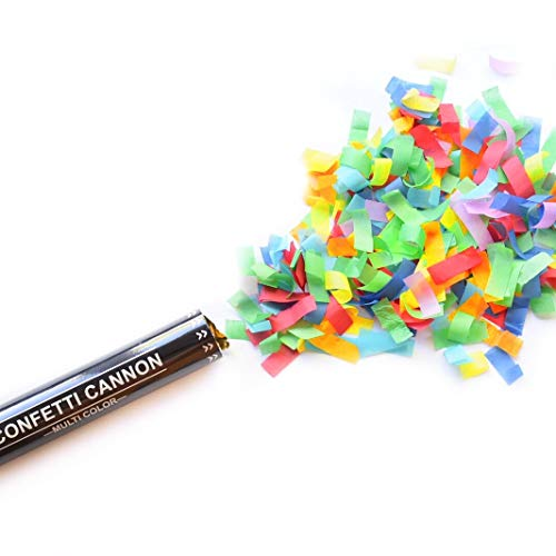 Legend & Co., 12 Inch Confetti Cannons Multicolor, 5 Pack | Large Party Poppers, Biodegradable | Safe, Indoor and Outdoor Launches 20-25ft | Celebrations, New Year's Eve, Birthdays and Weddings