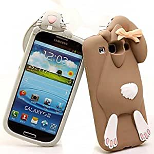 NEW Lovely Cartoon Rabbit Pattern Silicone Soft Case for Samsung S3 I9300 (Assorted Color) , Brown