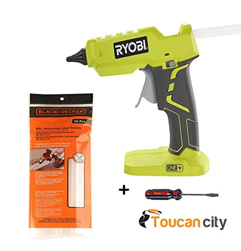 (Toucan City Screwdriver + Ryobi 18-Volt ONE+ Glue Gun P305 + 8 in. x 7/16 in. Dia All Purpose Full Size Glue Sticks (10-Pcs))