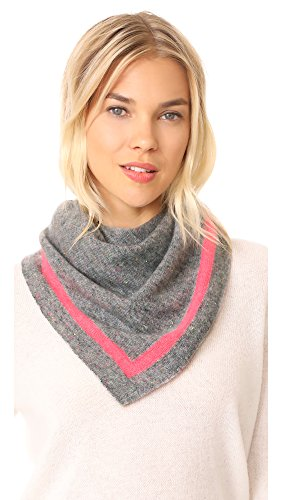 White + Warren Women's Cashmere Tipped Neck Scarf, Grey/Poppy, One Size by White + Warren