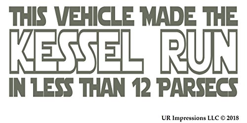 UR Impressions Gry This Vehicle Made The Kessel Run… Decal Vinyl Sticker Graphics for Car Truck SUV Van Wall Window Laptop|Gray|8 X 4 Inch|URI556 ()