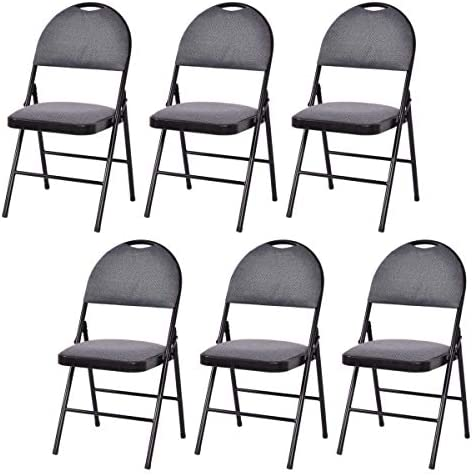 Casart 6-Pack Folding Chair with Upholstered Padded Seat and Back, with Metal Frame Home Office Party Use, Grey