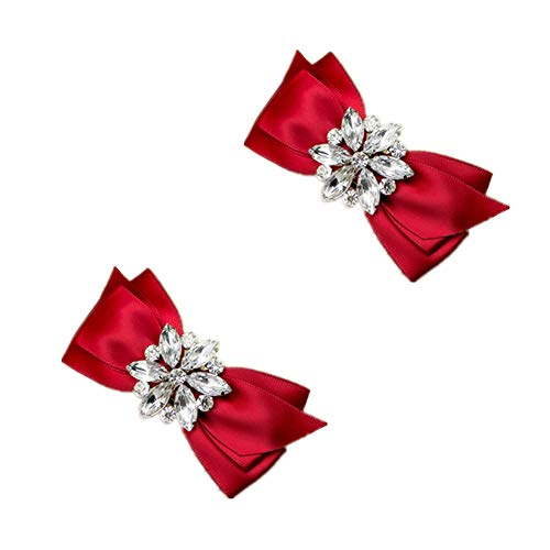 Douqu Rhinestone Crystal Wedding Bridal Shoe Bow Boots Clips detachable shoes buckle Shoe Decoration Charms Pair Jewelry (Red)