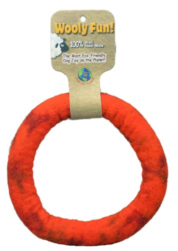 One Pet Planet Wool Dog Toy, 7-Inch, Orange
