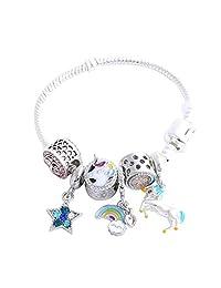 Cute Bow Unicorn Bracelet for Girls, Pink Crystal Bracelet with Star, Rainbow and Unicorn Charm