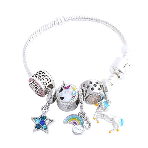 Cute Bow Unicorn Bracelet for Girls, Pink Crystal Bracelet with Star, Rainbow and Unicorn Charm (7)