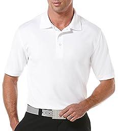 PGA TOUR Men\'s Short Sleeve Airflux Solid Polo, Bright White, Large