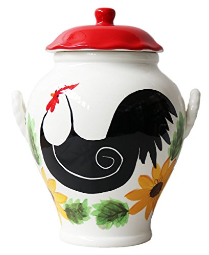 White Red Sunflower Rooster Hand Painted Ceramic Cookie Jar, 86876 by ACK