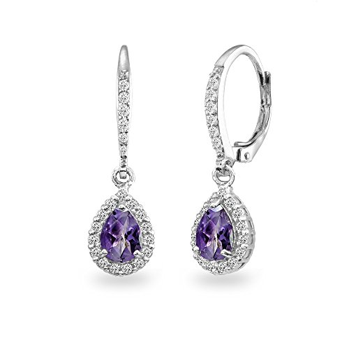 Sterling Silver Amethyst Teardrop Dangle Halo Leverback Earrings with White Topaz Accents