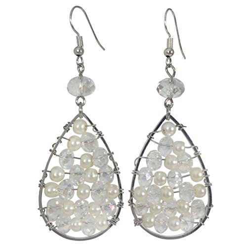 Teardrop with Beads Wire Wrapped Trendy Dangle Boutique Style Earrings (Imitation Pearl & Clear)