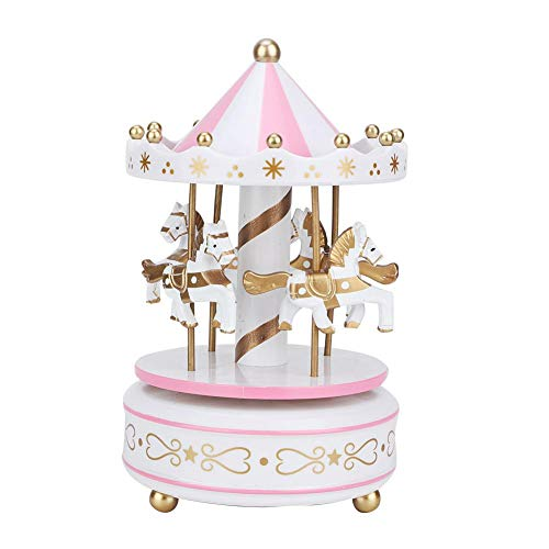 Wifehelper Merry-Go-Round Music Box, Carousel Horse Music Box Baby's Room Bedside Home Decor Christmas Wedding Birthday Gift Decor(White + Pink)