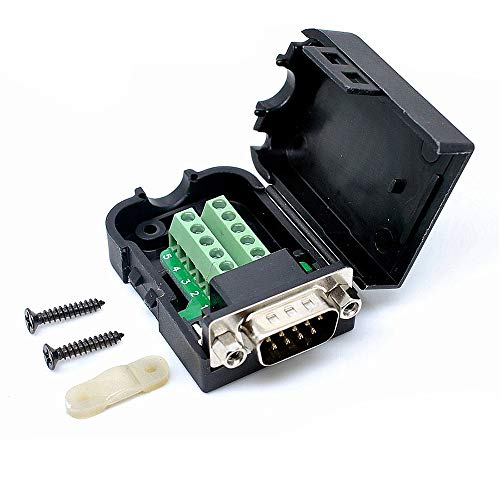 F-ber Connector Male DB9 9pin Plug Pin D-SUB Terminal Board Plastic Cover Solderless to Screw Terminal Connector Signal Module (Male Nuts) ()