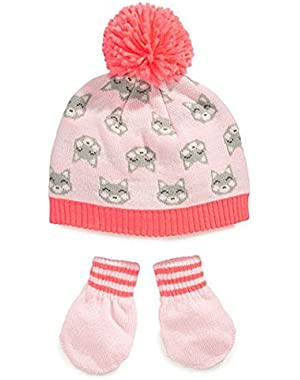 Carters Toddler Girls Pink Knit Kitty Cat Beanie Hat & Mittens Set 2T-4T