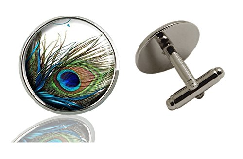 AmSun Peacock Feather Custom Jewelry Classic Tuxedo Shirt Cufflinks Men's Unique Business Gifts (2PCS) -