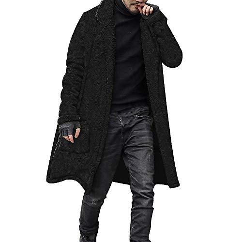 Caldo Cardigan Cappotto Petto Sportiva Top Peluche Invernale Giacca Sciolto Foderato Lungo Nero Camicette Uomo moda Doppio XwYpqz
