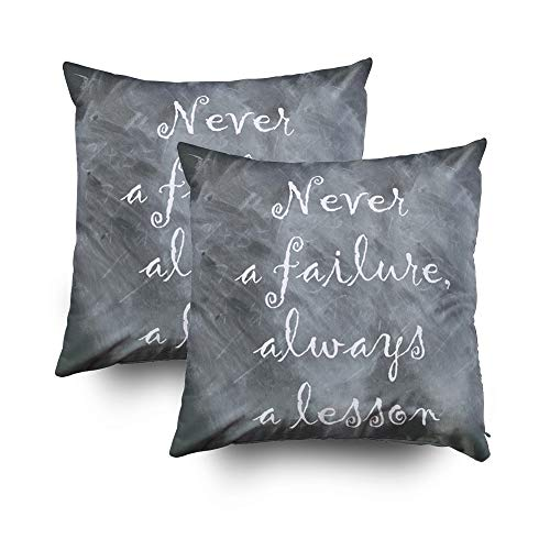 EMMTEEY Home Decor Throw Pillowcase Sofa Cushion Cover,never a failure Decorative Square Accent Zippered Double Sided Printing Pillow Case Covers 16X16Inch,Set of 2 by EMMTEEY