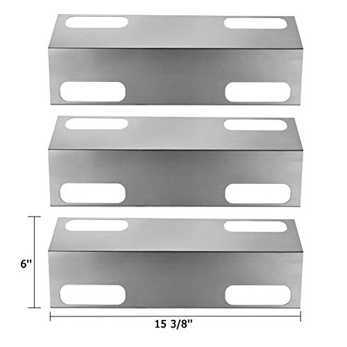 SHINESTAR Gas Grill Replacement Parts for Ducane Affinity 3200, 3400, 4100, 4200 and Others, 3-Pack 15 3/8 inch Stainless Steel Heat Shield Plate Tent Deflector BBQ Burner Cover Flame Tamer(SS-HP017)
