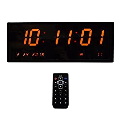 Large Digital Alarm Wall Clock – Calendar/Multi-Alarms/ Seconds /Remote Control Red Led Display Desk Clock