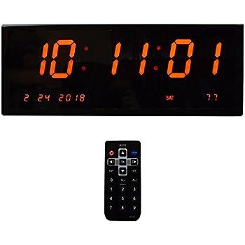 93ccf8dd3cc7 Grande Reloj de pared despertador Digital - Calenda  R Multi-alarmas segundos Control remoto rojo pantalla Led reloj de  escritorio