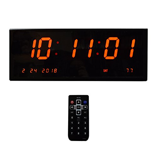 Large Digital Alarm Wall Clock - Calendar/Multi-Alarms/ Seconds /Remote Control Red Led Display Desk Clock ()