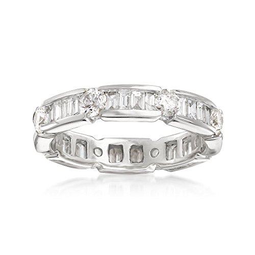 Band Diamond Round Baguette Brilliant (Ross-Simons 2.00 ct. t.w. Baguette and Round Diamond Eternity Band in 14kt White Gold)