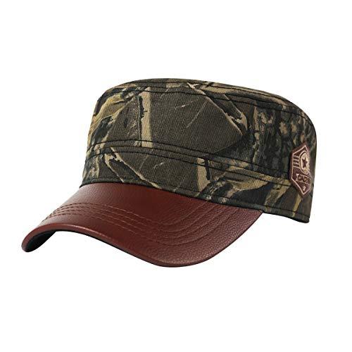 - CACUSS Men's 100% Cotton Classic Army Caps Military Hat Adjustable Comfy Cadet Hat Vintage Flat Top Cap Baseball Cap (P0067-BROWN