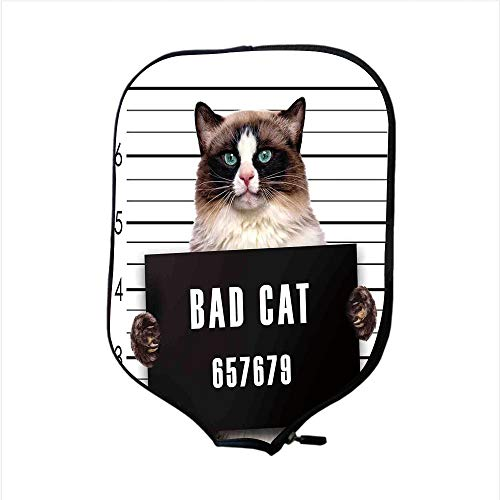 Neoprene Pickleball Paddle Racket Cover Case,Cat Lover Decor,Bad Gang Cat in Jail Kitty Under Arrest Criminal Prisoner Hangover Artsy Work,Brown Black White,Fit for Most Rackets - Protect Your Paddle -