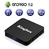 Kingbox Android TV Box 9.0, K4 S Android Box with 4GB RAM 32GB ROM Quad-Core Support BT 4.1/ WiFi/ 4K/ 3D/ H.265 Smart TV Box with Remote (2019 Newest Version)